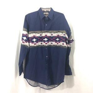 Vintage Blue Southwestern Snap Front Shirt L